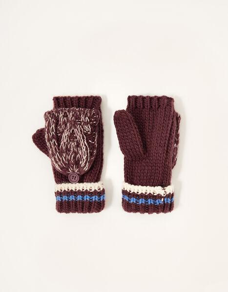Reuben Knit Capped Gloves Red, Red (BURGUNDY), large