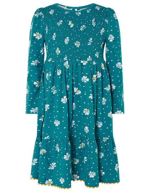 Daisy Shirred Jersey Dress , Green (GREEN), large