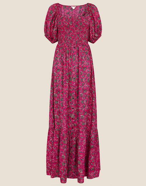Floral Shirred Maxi Dress, Pink (PINK), large