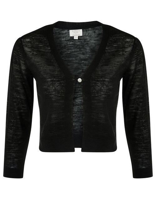 Button Shrug in Linen Blend, Black (BLACK), large