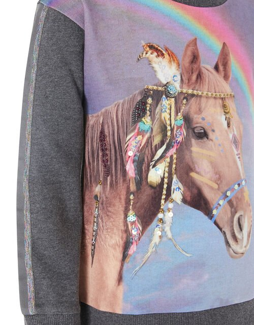Sequin Horse Rainbow Sweatshirt, Grey (CHARCOAL), large