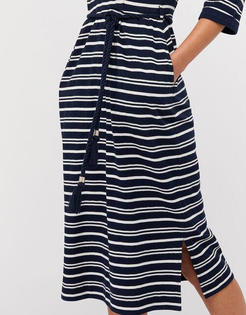 Sandy Stripe Jersey Jacquard Dress, Navy, large
