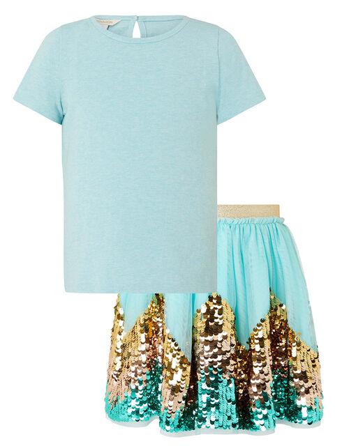 Disco Freya T-shirt and Sequin Skirt Set, Blue (AQUA), large