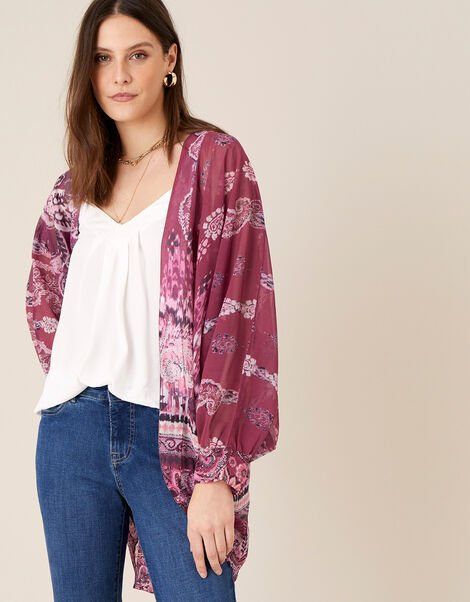 Ikat Print Cocoon Cover-Up , , large