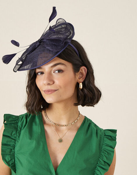 Bow Disc Fascinator  Blue, Blue (NAVY), large