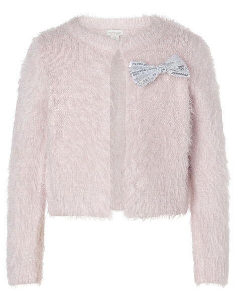 Sequin Bow Fluffy Bolero Pink, Pink (PALE PINK), large