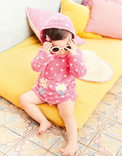 Baby Daisy Spot Towelling Dress  Pink, Pink (PINK), large