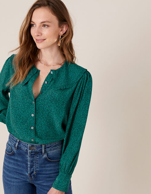 Printed Wide Collar Blouse, Green (GREEN), large