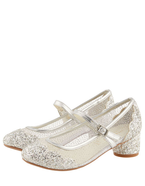 Anabelle Scallop Glitter Princess Shoes Silver, Silver (SILVER), large