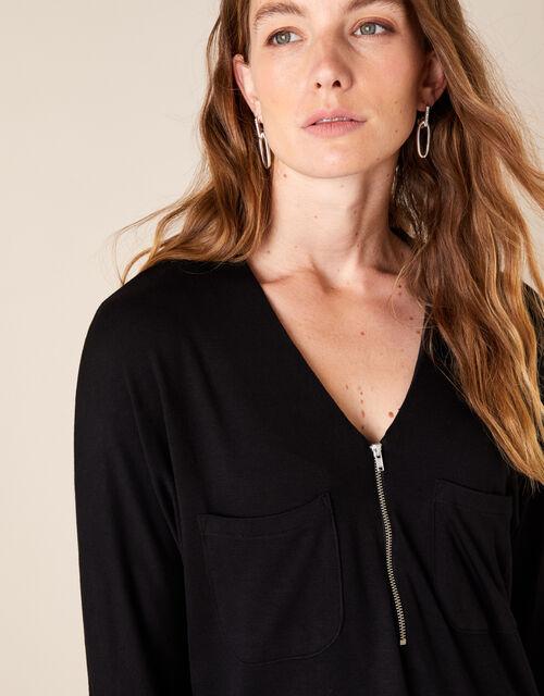 Zip Detail Jersey Shirt, Black (BLACK), large