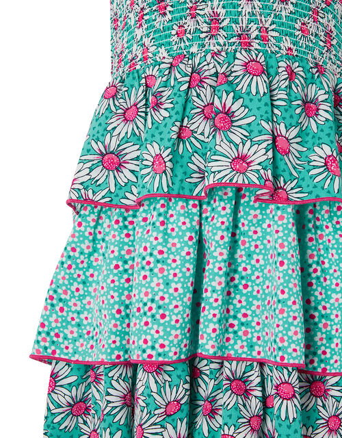 Daisy Print Tiered Dress, Green (GREEN), large