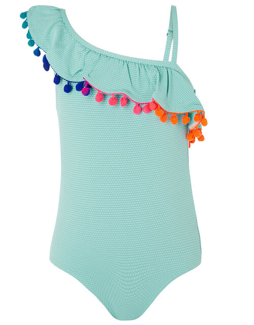 One Shoulder Frill Textured Swimsuit , Blue (TURQUOISE), large