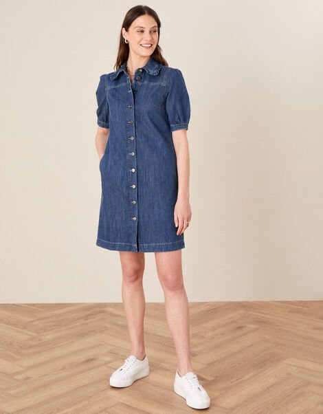 Ruffle Collar Denim Dress Blue, Blue (DENIM BLUE), large