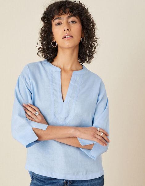 Linen V-neck Top Blue, Blue (BLUE), large