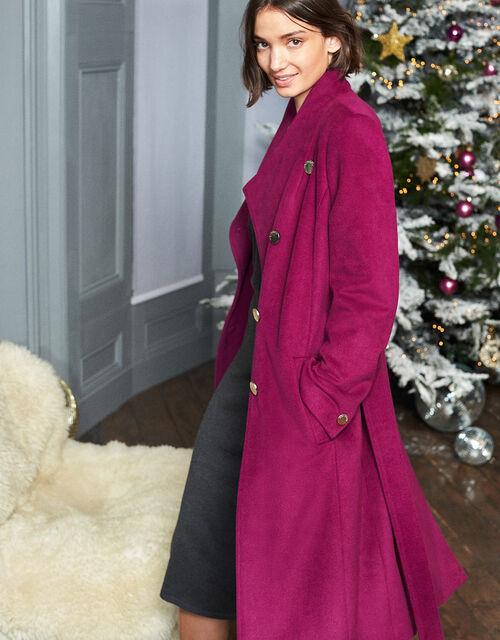 Rita Wrap Collar Long Coat , Purple, large