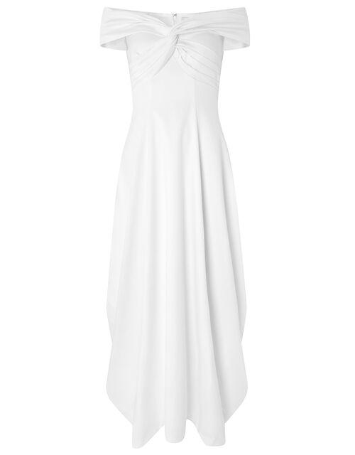 Hannah Bardot Satin Bridal Dress, Ivory (IVORY), large