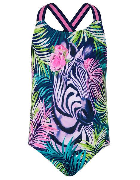Zebra Palm Print Swimsuit  Blue, Blue (NAVY), large