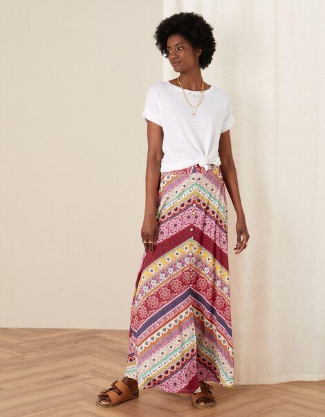 Cameron Mix Print Jersey Skirt Pink, Pink (PINK), large