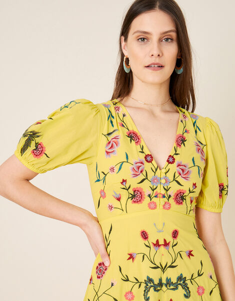 Delia Embroidered Tea Dress  Yellow, Yellow (YELLOW), large