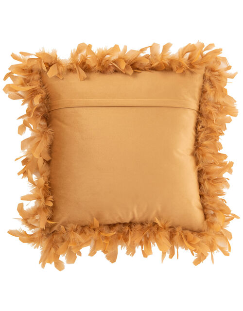 Feather Trim Square Cushion, Yellow (OCHRE), large