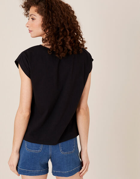 Lila Woven Front Tee in Organic Cotton  Black, Black (BLACK), large