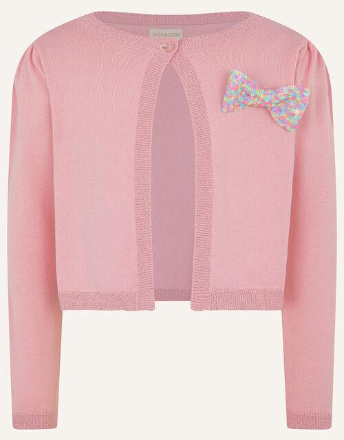 Rainbow Sequin Bow Bolero, Pink (PINK), large