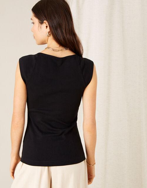 Clara Square Neck Vest, Black (BLACK), large