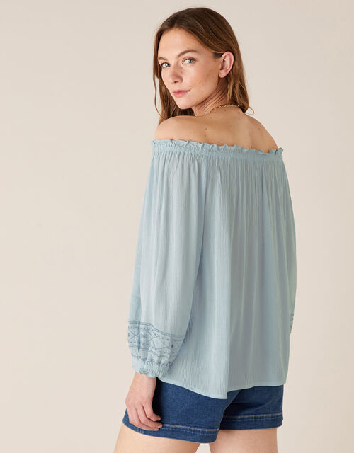 Embroidered Off-the-Shoulder Top, Blue (DENIM BLUE), large