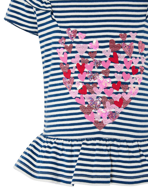 Stripe Heart Top in Organic Cotton , Blue (NAVY), large