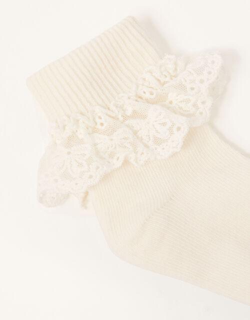 Baby Olivia Lace Trim Socks, Ivory (IVORY), large