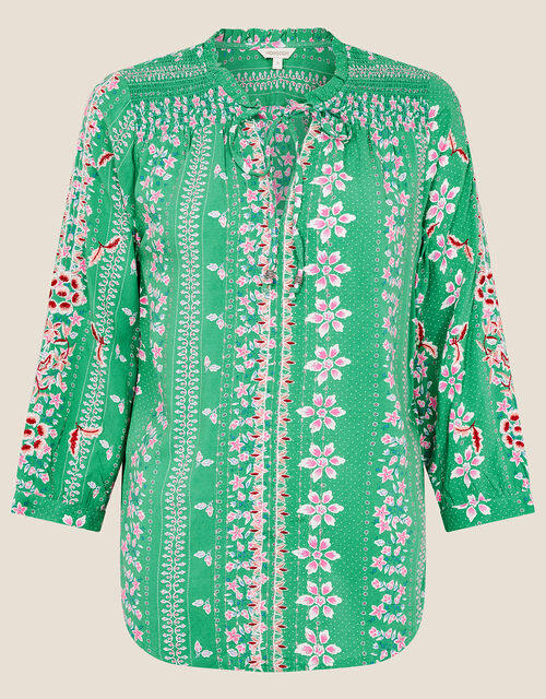 Floral Tie Neck Blouse, Green (GREEN), large