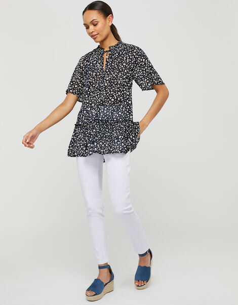 Natalie Printed Blouse in Sustainable Viscose Blue, Blue (NAVY), large