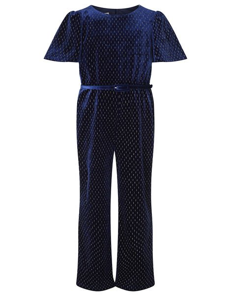 Shimmer Velvet Belted Jumpsuit Blue, Blue (NAVY), large
