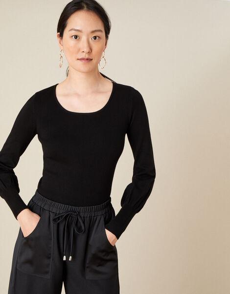 Scoop Neck Jumper Black, Black (BLACK), large