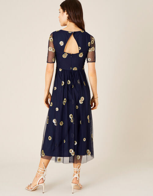 Susan Sequin Sunflower Midi Dress, Blue (NAVY), large