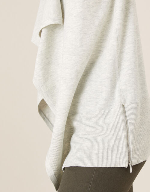 Zip Side Waterfall Cardigan, Grey (GREY), large