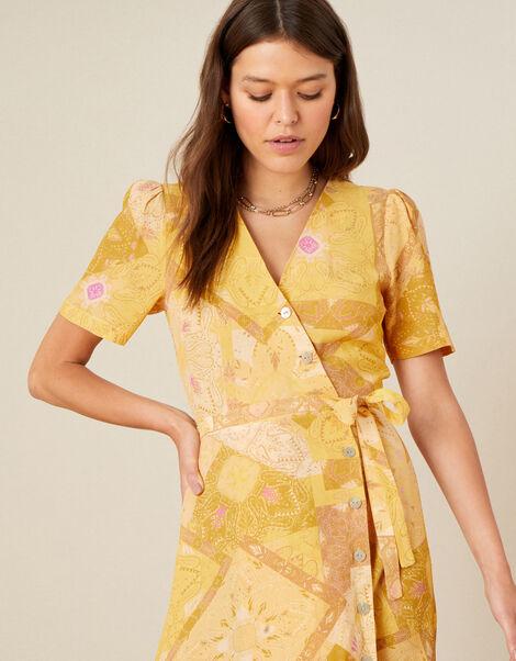 Goldie Scarf Print Wrap Dress Yellow, Yellow (YELLOW), large