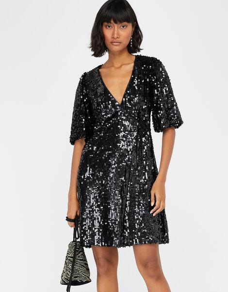 Serena Sequin Wrap Dress Black, Black (BLACK), large