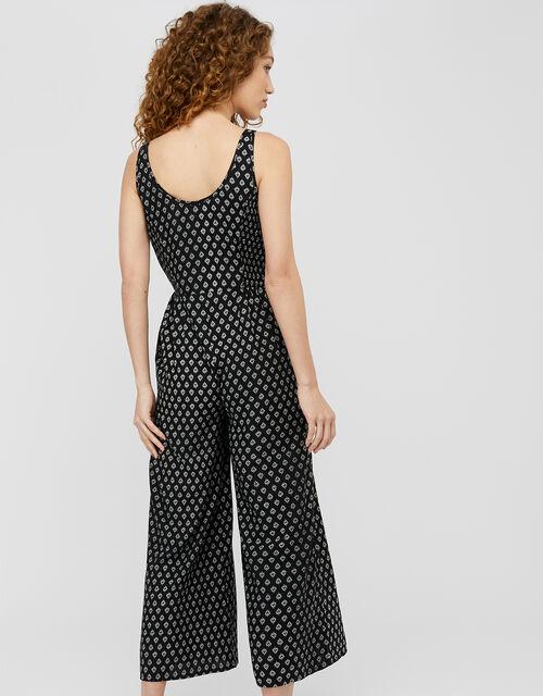 Helena Heritage Printed Jumpsuit in LENZING™ ECOVERO™, Black (BLACK), large