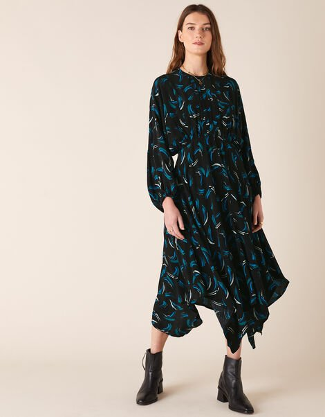 Abstract Print Dress in Sustainable Viscose Black, Black (BLACK), large