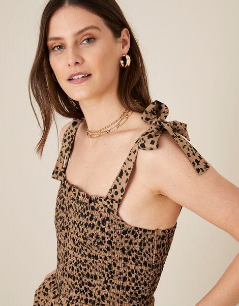 Animal Print Shirred Jumpsuit Natural, Natural (NATURAL), large