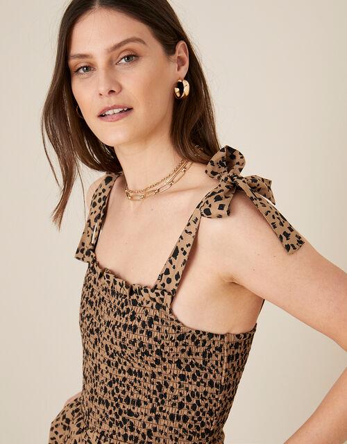 Animal Print Shirred Jumpsuit, Natural (NATURAL), large
