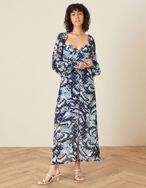 Briony Shimmer Butterfly Dress Blue, Blue (NAVY), large