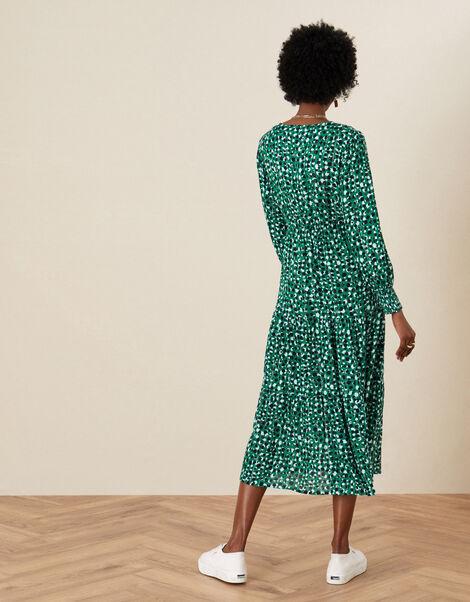 Shirred Animal Print Dress Green, Green (GREEN), large