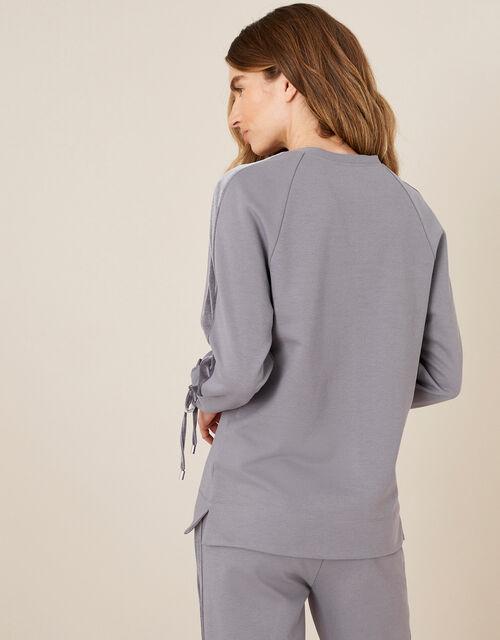 LOUNGE Laurie Velour Trim Sweatshirt, Grey (GREY), large