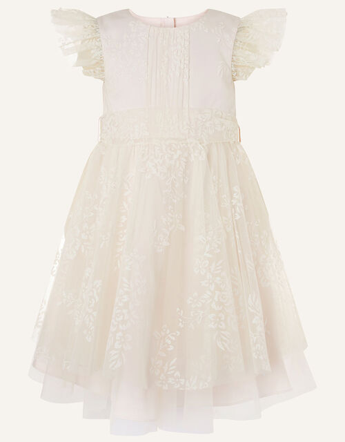 Glitter Print Tulle Dress, Natural (CHAMPAGNE), large