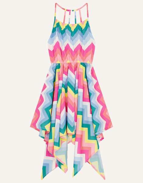 Rainbow Chevron Hanky Hem Dress Multi, Multi (MULTI), large