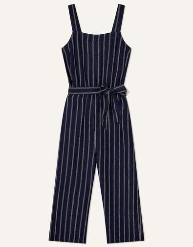 Stripe Jumpsuit in Pure Linen Blue, Blue (NAVY), large
