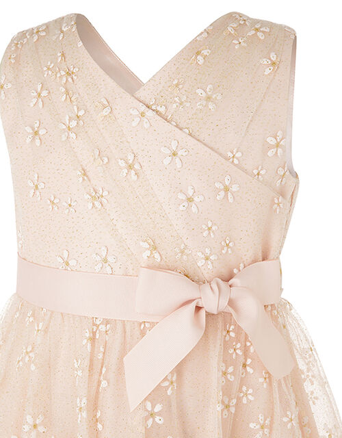 Snowdrop Floral Glitter Hanky Hem Dress, Pink (PINK), large