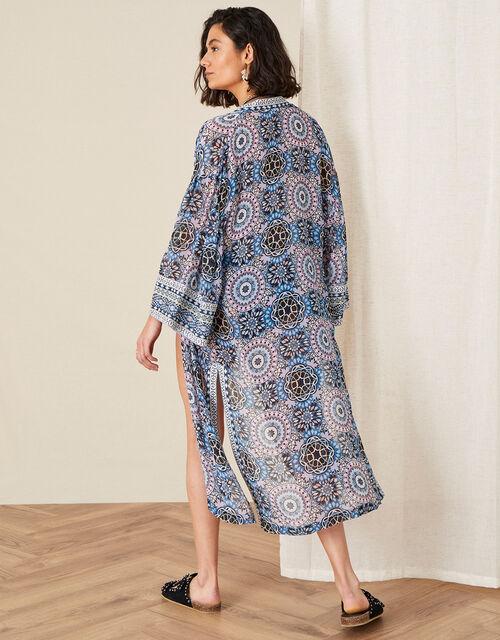 Leighton Geo Print Kimono, Blue (BLUE), large